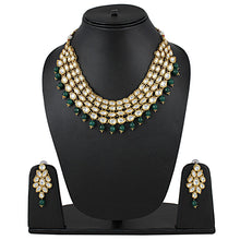 Load image into Gallery viewer, Green Stone Kundan Necklace With Earrings