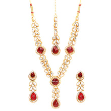 Load image into Gallery viewer, Gold Plated Kundan Necklace Set