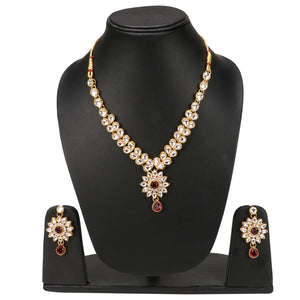 Traditional Designer Kundan Necklace Set with Earrings and Maang Tikka