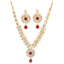 Load image into Gallery viewer, Traditional Designer Kundan Necklace Set with Earrings and Maang Tikka