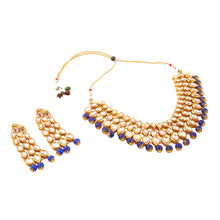 Load image into Gallery viewer, Elegant Finish Gold Plated Blue Kundan Necklace Set