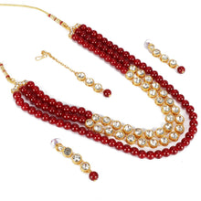 Load image into Gallery viewer, Maroon Traditional Gold Plated Kundan Necklace Set