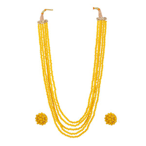 Five Layer Yellow Crystal Beads Necklace With Earrings