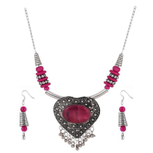 Load image into Gallery viewer, Designer Heart Shaped Metal and Pink Stone Tibetan Necklace with Earrings