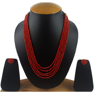 Five Layer Red Crystal Beads Necklace With Earrings