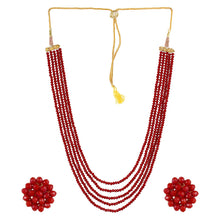 Load image into Gallery viewer, Five Layer Red Crystal Beads Necklace With Earrings