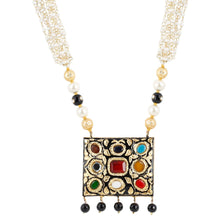 Load image into Gallery viewer, Designer Blue Navratan and Kundan Necklace Set with Onyx Beads