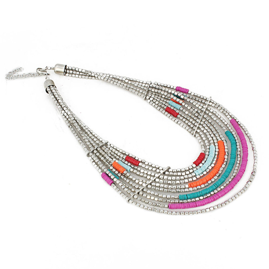 Designer Oxidized Multi Colour Silver Beads Necklace
