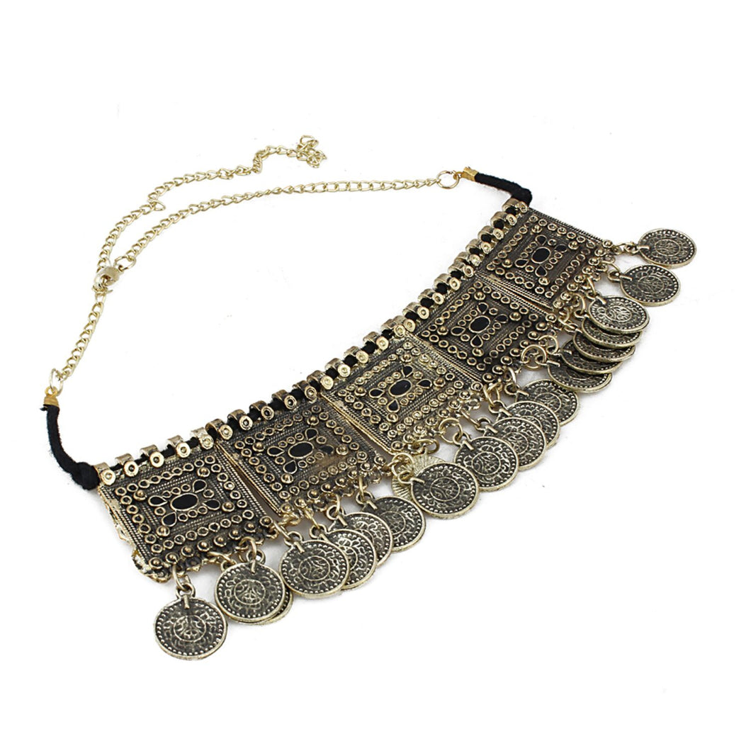 Oxidised Gold-Plated Coin Choker Necklace