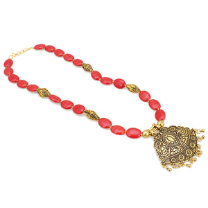 Designer Red Onyx Stone Traditional Necklace