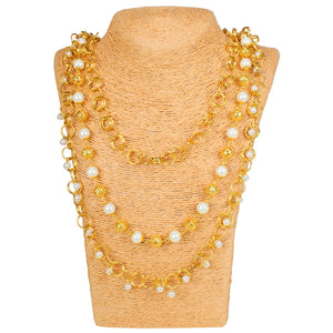 Pearl Mala Multi Layer Daily Wear Gold Plated Chain