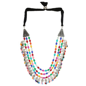 Afghani Dual Tone Designer Turkish Style Vintage Silver Oxidised Multi-Colur Beads Necklace