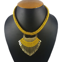 Load image into Gallery viewer, Designer Metal and Yellow Thread Necklace