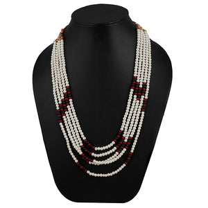 Five Layer Red Color Crystal Beads Necklace