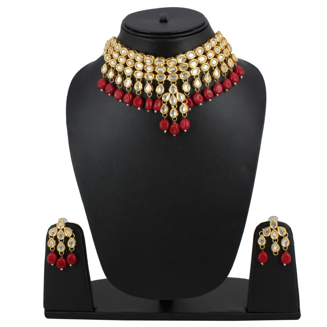 Maroon Kundan Metal Necklace With Earrings Set