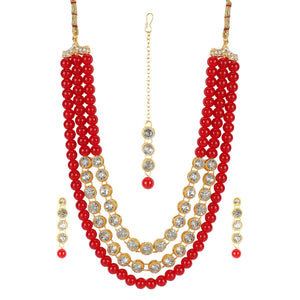 Maroon Traditional Gold Plated Kundan Necklace Set