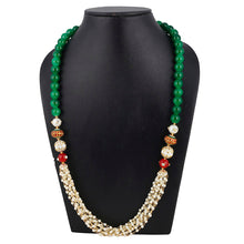 Load image into Gallery viewer, Designer Handmade Tulsi Mala and Red Stone Beads Necklace