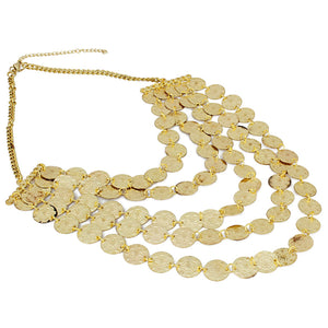 High Finished Golden Five Layer Designer Coin Necklace