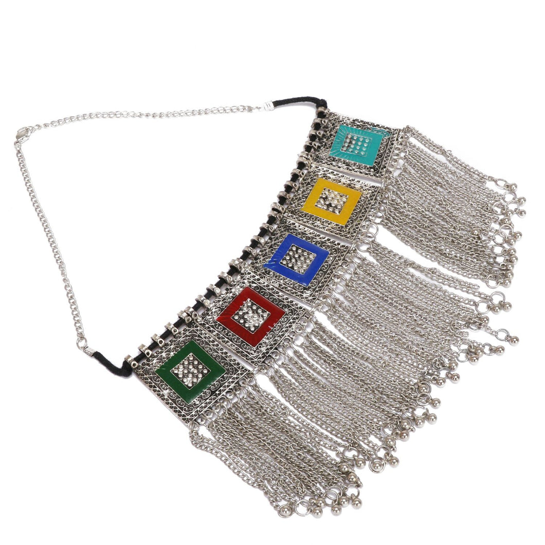 Boho Afgani Turkish Silver Necklace