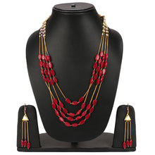 Load image into Gallery viewer, Gold Plated Chain Onyx Stone Necklace Set