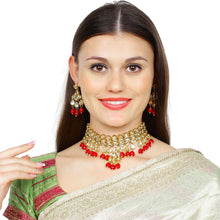 Load image into Gallery viewer, Maroon Kundan Metal Necklace With Earrings Set