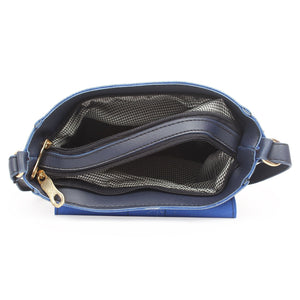 Generic Women's Faux Synthetic Leather Sling Bag (Blue)