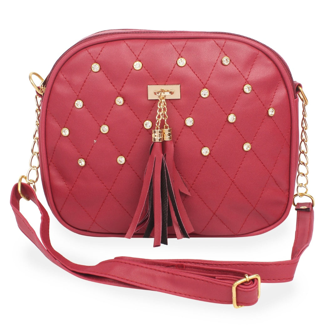 Generic Women's Faux Synthetic Leather Sling Bag (Red)