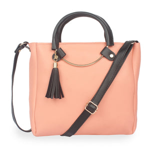 Generic Women's Faux Synthetic Leather Sling Bag (Peach)