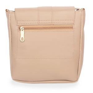 Generic Women's Faux Synthetic Leather Sling Bag (Beige)