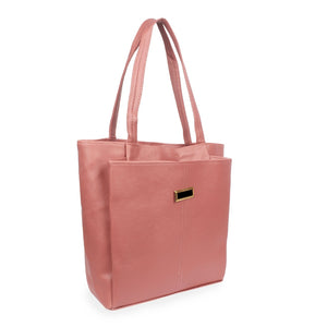 Generic Women's Faux Synthetic Leather Satchel Bag (Peach)