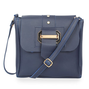 Generic Women's Faux Synthetic Leather Satchel Bag (Blue)