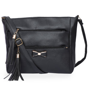 Generic Women's Faux Synthetic Leather Sling Bag (Black)
