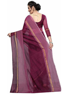 Generic Women's Chanderi Art Silk Saree with Blouse (Maroon,5-6 mtrs)