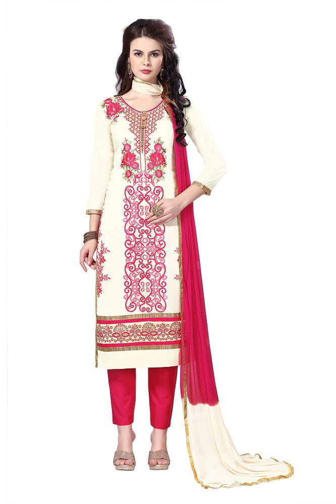 Women's Cotton Embroidered Party Wear Dress Material