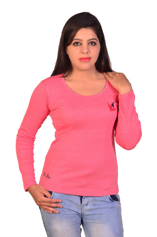 Women's Solid Full Sleeve T-Shirt Top Casual Wear