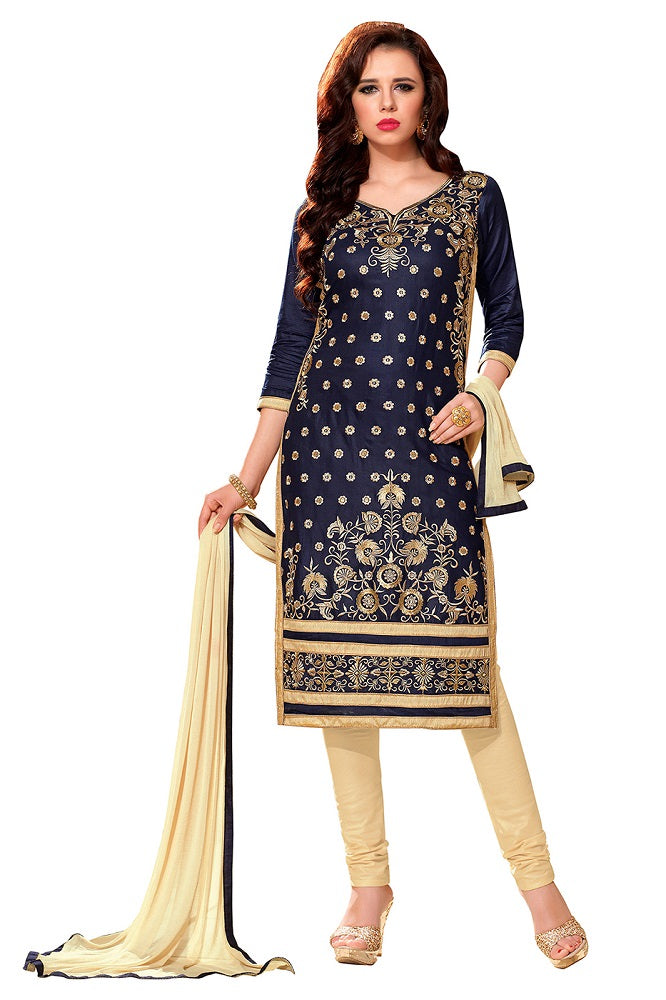 Navy Blue Glaze Cotton Embroidered Party Wear Dress Material