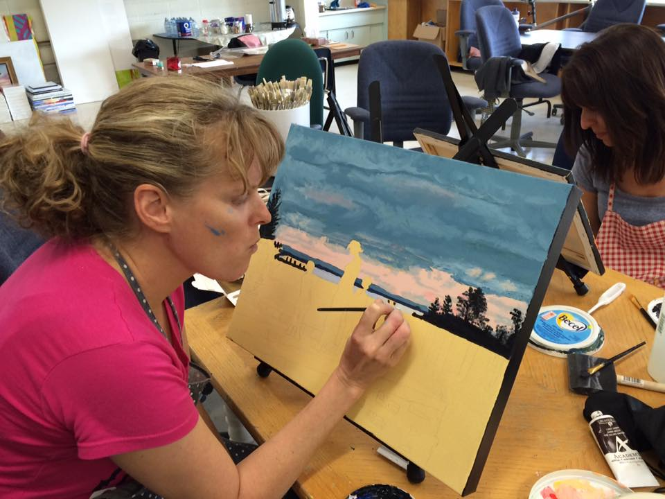 Marianne Vander Dussen - A painting in progress by a guest during an all-day workshop