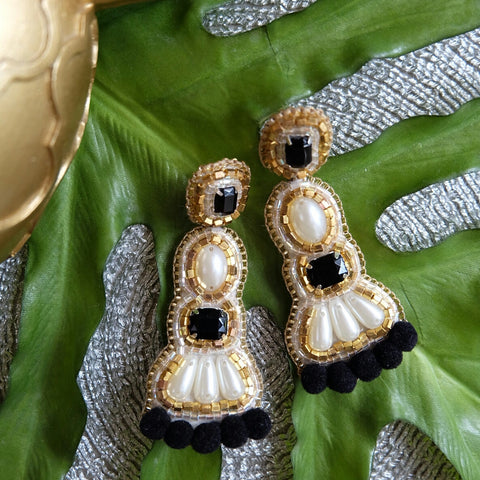 """Coco"" Black and White Pompom Earrings"