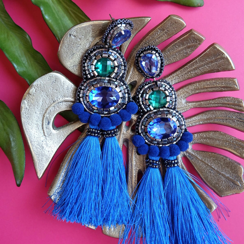 """Kaia"" Blue and Green Pompom and Tassel Earrings"