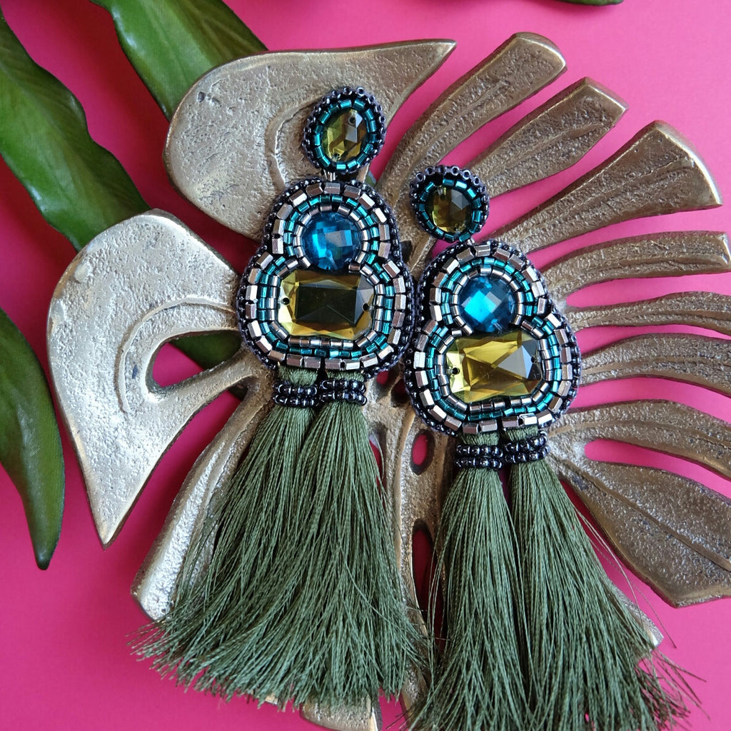 """Tiana"" Olive and Turquoise Tassel Earrings"