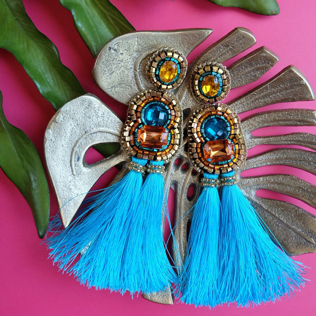 """Xandra"" Orange and Aqua Tassel Earrings"