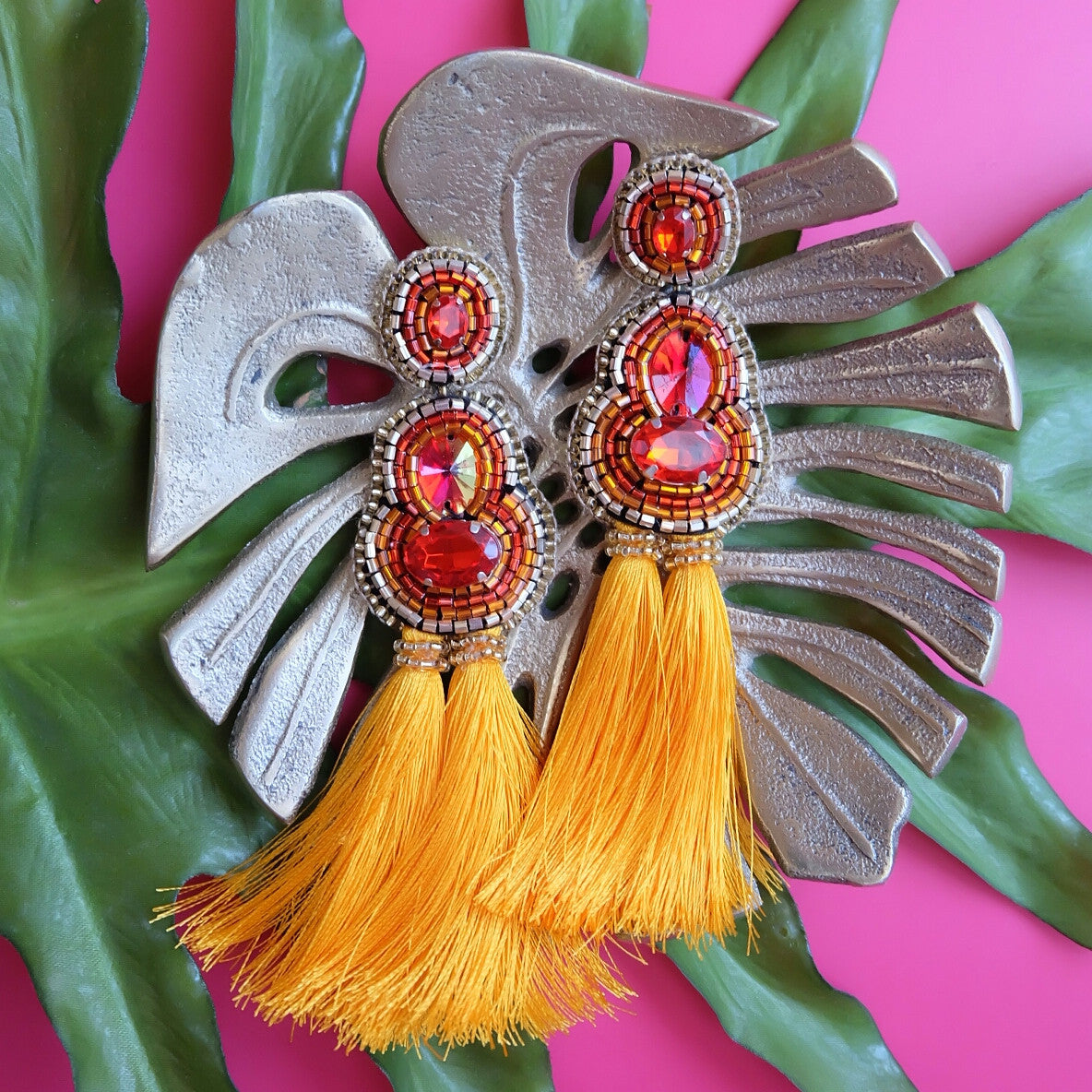 """Kenza"" Red and Orange Tassel Earrings"
