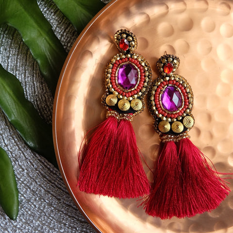 """Yara"" Magenta and Red Tassel Earrings"