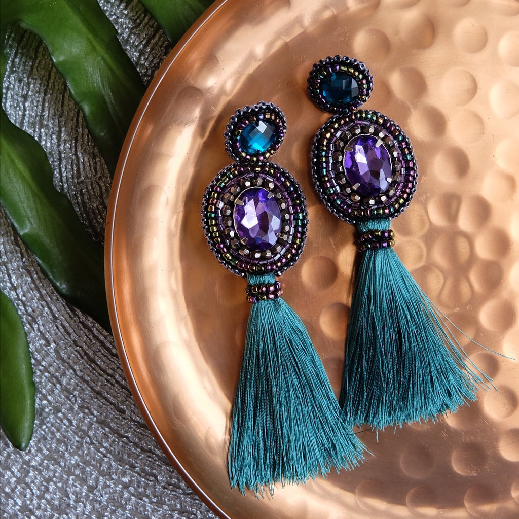 """Harper"" Purple and Teal Tassel Earrings"