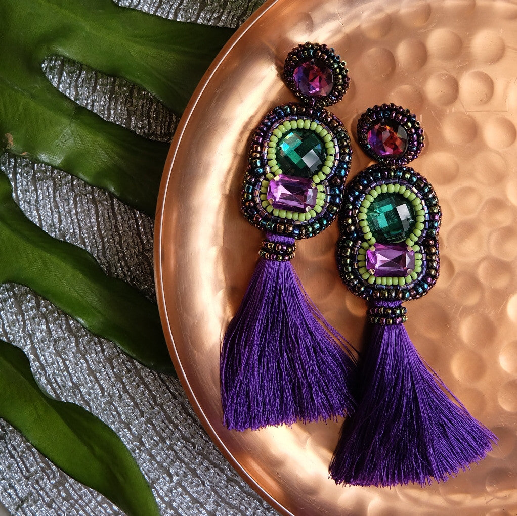 """Uma"" Green and Aubergine Tassel Earrings"
