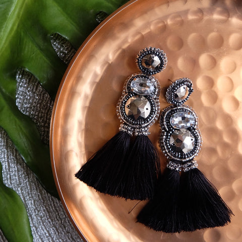 """Cheska"" Silver and Black Tassel Earrings"
