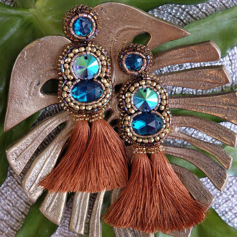 """Leana"" Blue and Brown Tassel Earrings"
