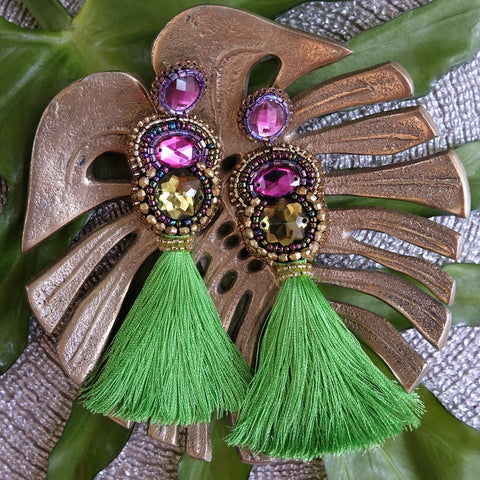 """Marguerite"" Purple and Green Tassel Earrings"