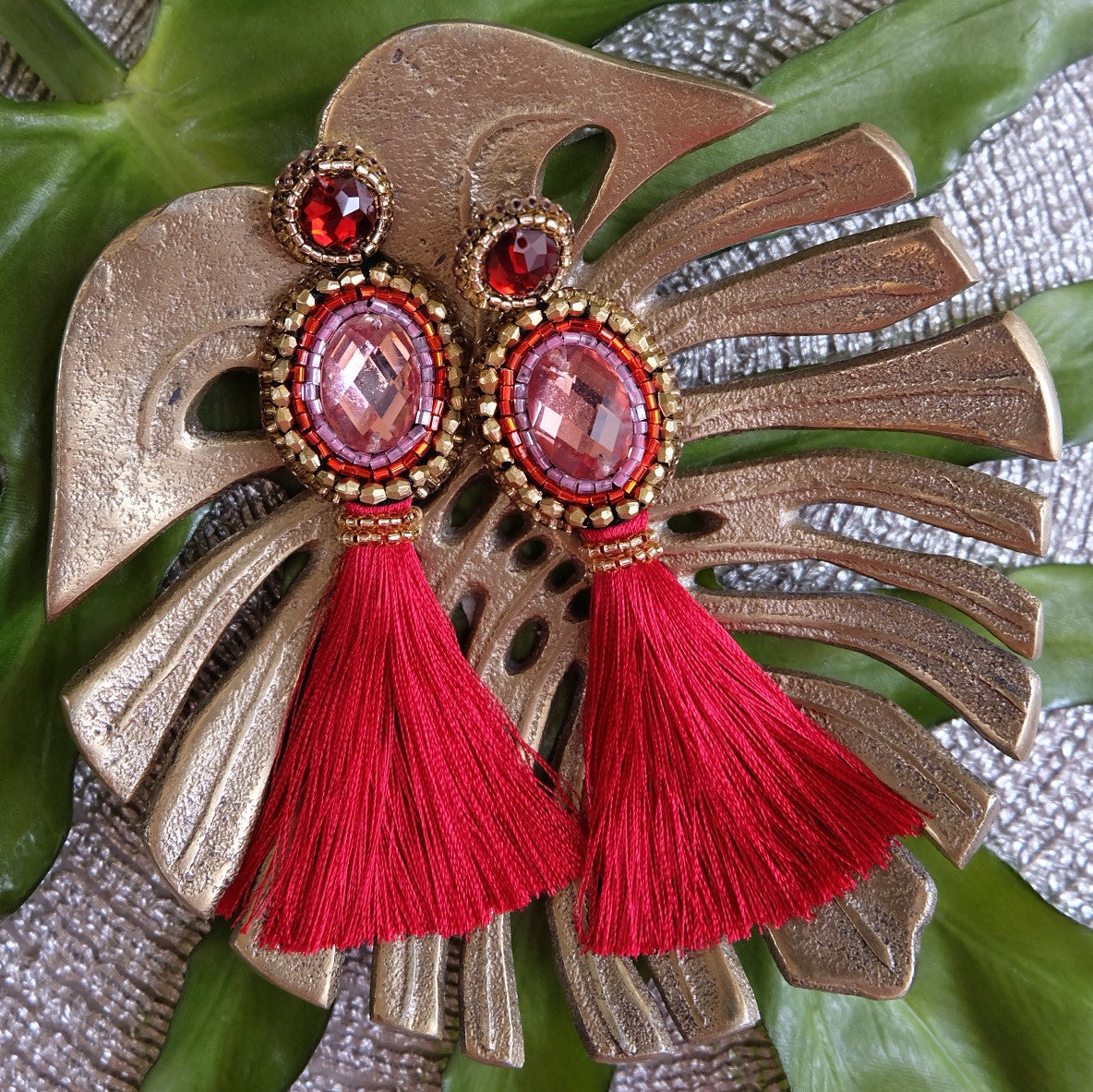 """Rose"" Pink and Red Tassel Earrings"