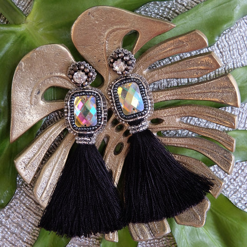 """Noelle"" Black Tassel Earrings"